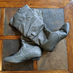 Gray Slouchy Leather Boots